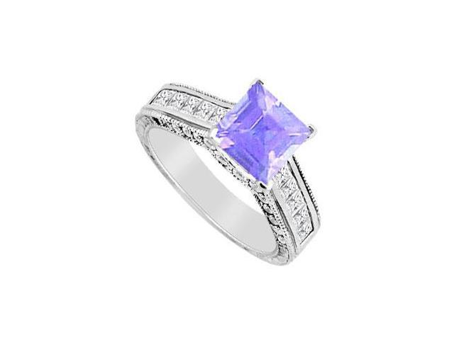 0.50 Carat Tanzanite and CZ Princess Cut Engagement Ring in 14K White Gold 2.00 Carat TGW
