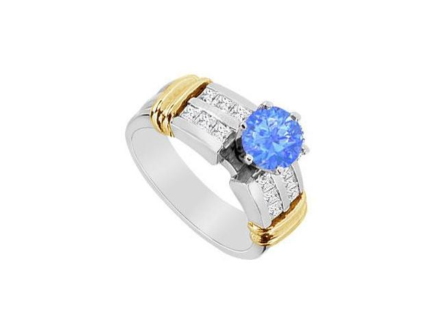 Diffuse Sapphire and CZ Engagement Ring in 14K Two Tone White and Yellow Gold 1.10 Carat TGW