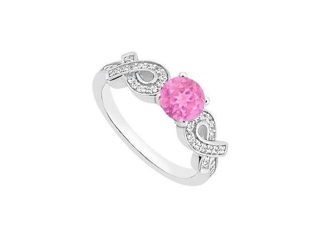 14K White Gold Ribbons Diamond and Pink Sapphire Engagement Ring TGW of 0.95 Carat