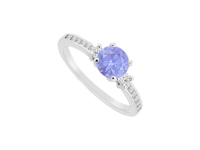 14K White Gold Princess Cut Diamond and Round Natural Tanzanite Engagement Ring 0.75 CT TGW