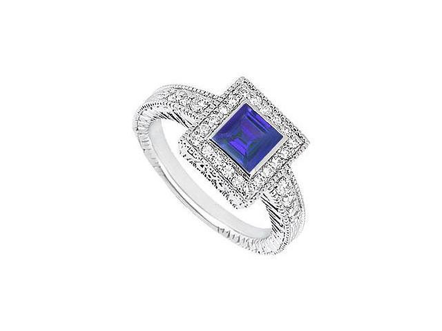 Sapphire and Diamond Engagement Ring in 14K White Gold with 1.00 Carat TGW