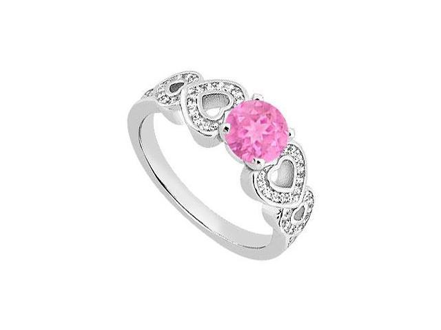 14K White Gold Heart Diamond and Pink Sapphire Engagement Ring of 0.90 carat TGW