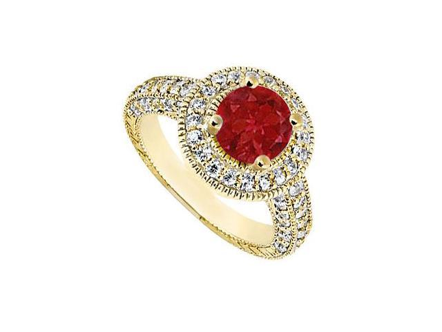 Halo Engagement Ring of Diamond and Natural Ruby in 14K Yellow Gold TGW of 2.15 Carat