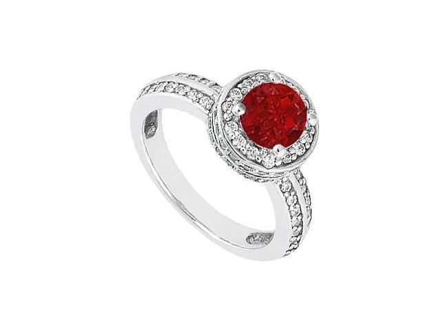1 Carat Diamond and Natural Red Ruby Engagement Ring in 14K White Gold