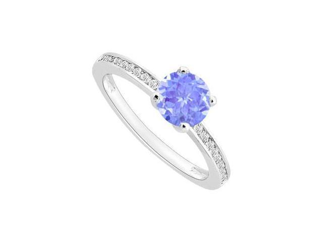 December Birthstone Created Tanzanite and CZ Engagement ring in 14K White Gold 0.50 ct TGW