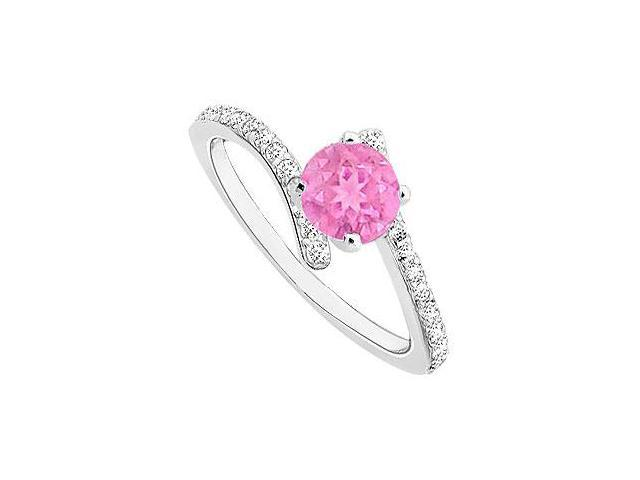 Created Pink Sapphire and Cubic Zirconia Engagement Rings in 14kt White Gold 0.50.ct.tgw