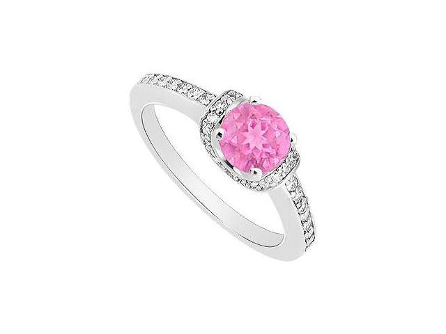 September Birthstone Created Pink Sapphire and CZ Engagement Rings in 14K White Gold 0.50.ct.tgw