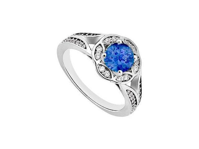 Created Sapphire and Cubic Zirconia Floral Engagement Rings in 14K White Gold 0.75.ct.tgw