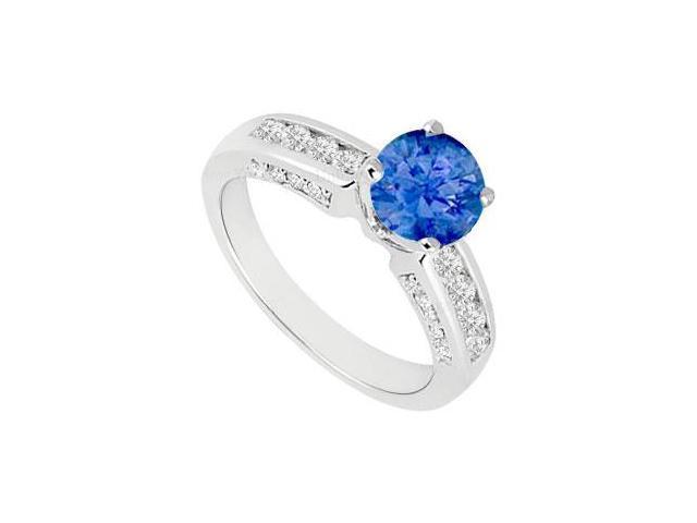 September Birthstone Created Sapphire  CZ Engagement Rings 14K White Gold 1.10.ct.tgw