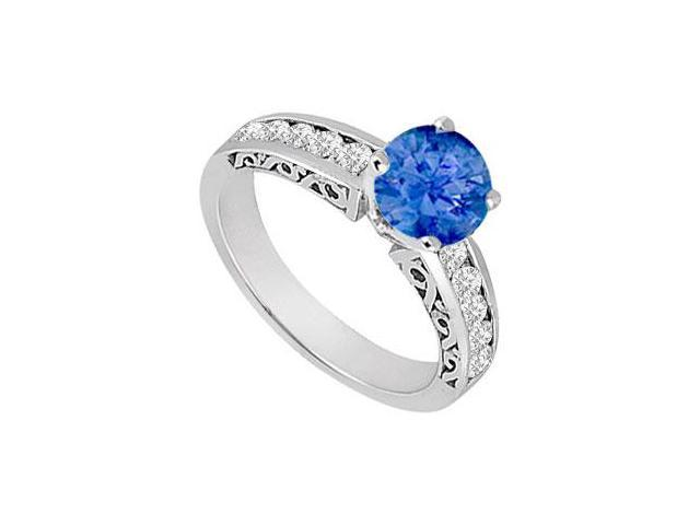 Sapphire and Diamond Engagement Ring 14K White Gold  0.80 CT TGW