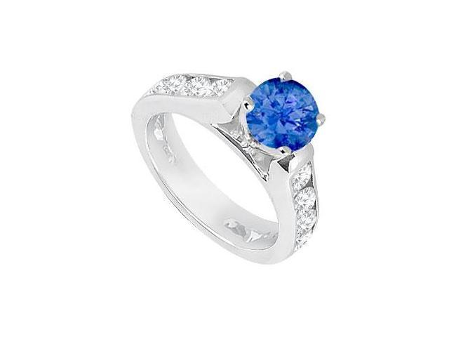 Created Sapphire  CZ Engagement Rings 14K White Gold 1.10.ct.tgw