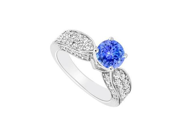 14K White Gold  Tanzanite and Diamond Engagement Ring 1.50 CT TGW