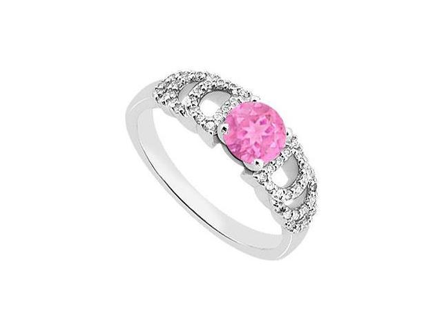 Engagement Ring of Pink Sapphire and Diamond 1 Carat Total Gem Weight in 14K White Gold Ring