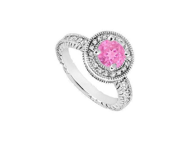 Created Pink Sapphire and Cubic Zirconia Halo Engagement Rings in 14K White Gold 1.50.ct.tgw
