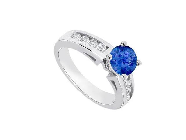 September Birthstone Created Sapphire   CZ Engagement Rings 14K White Gold 0.80.ct.tgw