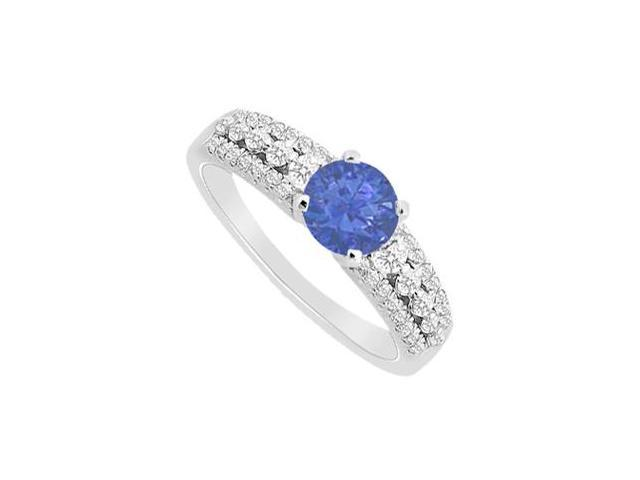 14K White Gold Diamond Brilliant Cut and Natural Sapphire Engagement Ring 1.00 Carat TGW