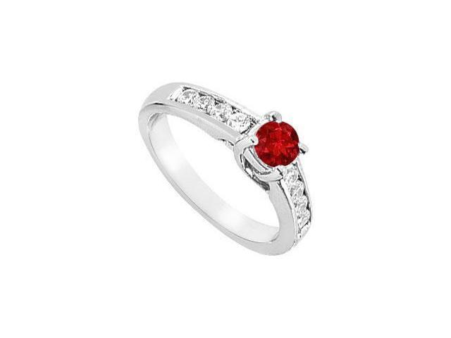 14k white gold created ruby engagement ring with triple AAA quality cz of one carat tgw