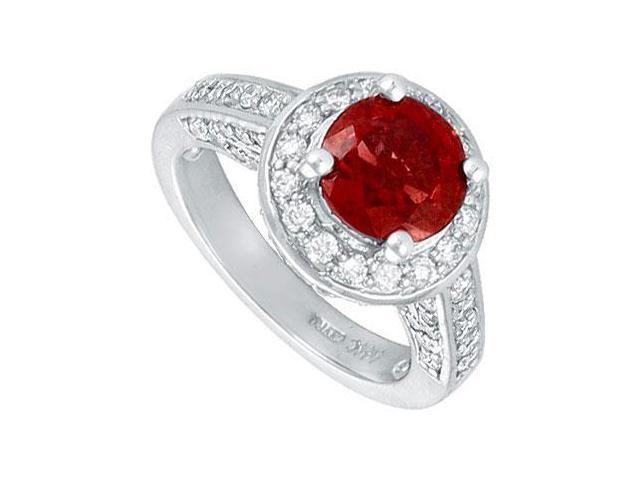 Ruby and Diamond Engagement Ring  Platinum - 4.00 CT TGW