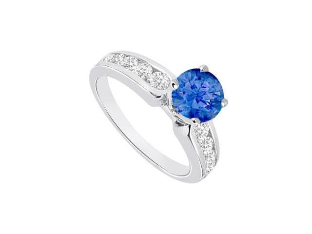 September Birthstone Created Sapphire and CZ Engagement Rings 14K White Gold 1.10.ct.tgw