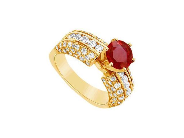 Ruby and Diamond Engagement Ring  14K Yellow Gold - 3.25 CT TGW
