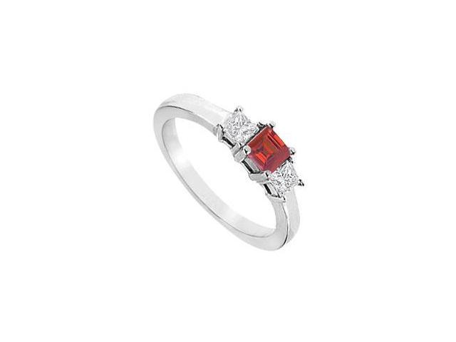 Triple AAA quality cz and created ruby three stone ring in 14k white gold one carat tgw