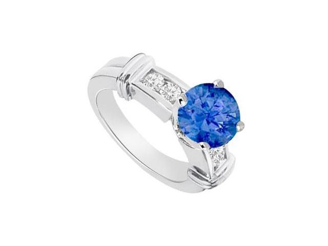 September Birthstone Created Sapphire  CZ Engagement Rings 14K White Gold 0.66.ct.tgw