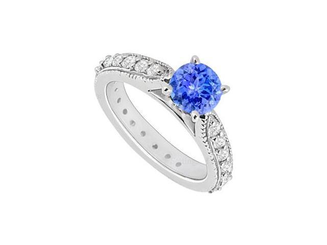 14K White Gold  Tanzanite and Diamond Engagement Ring 0.85 CT TGW