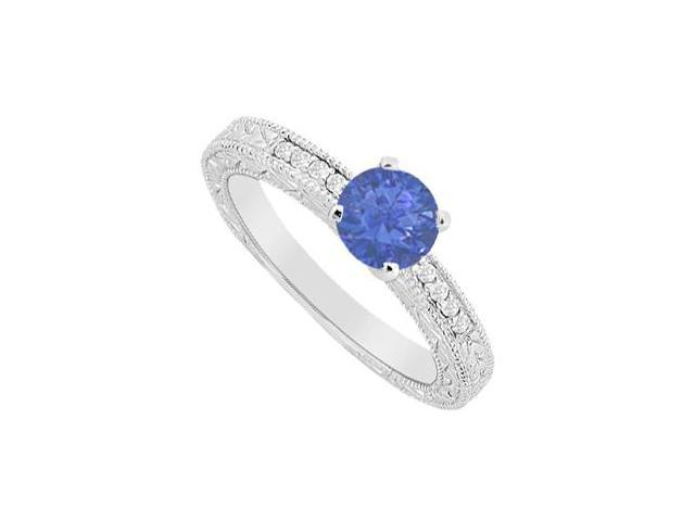 Diamond Brilliant Cut and Round Natural Sapphire Engagement Ring in 14K White Gold 0.60 Carat TG