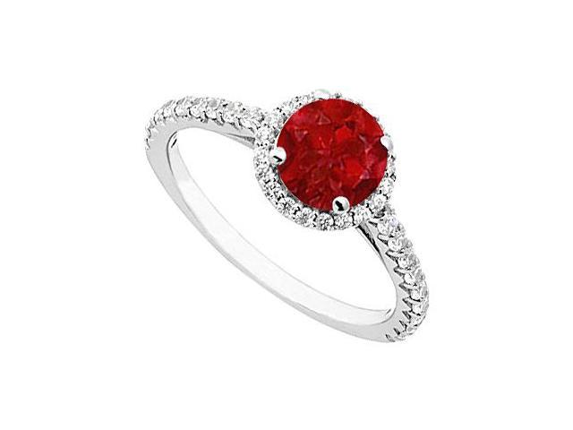 Ruby and Diamond Halo Ring in 14K White Gold 1.00.ct.tgw