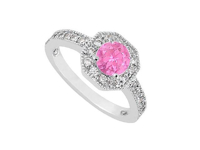 Pink Sapphire and Diamond Milgrain Engagement Ring in 14K White Gold 0.85 Carat TGW