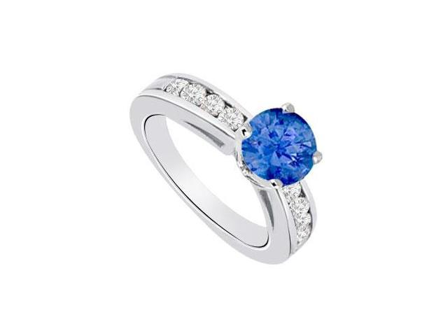 September Birthstone Created Sapphire  CZ Engagement Rings 14K White Gold 0.85.ct.tgw