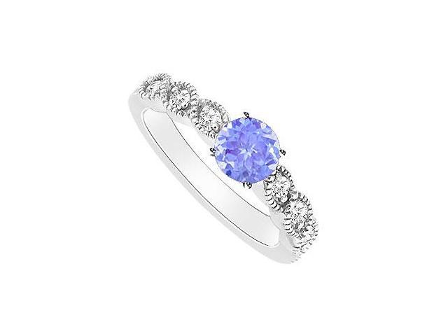 Created Tanzanite and Cubic Zirconia Engagement Rings in 14kt White Gold 0.35.ct.tgw