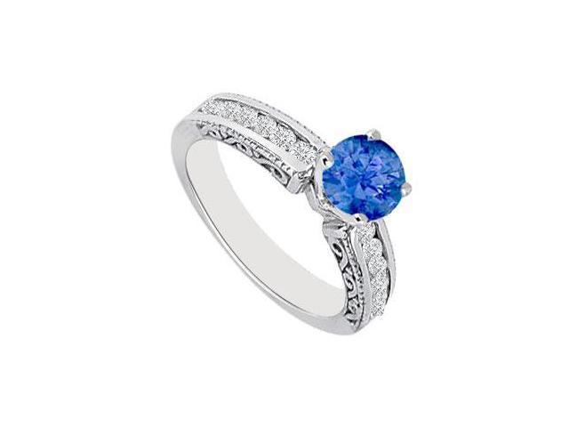 September Birthstone Created Sapphire  CZ Filigree Engagement Rings in14K White Gold 0.75ct.tgw