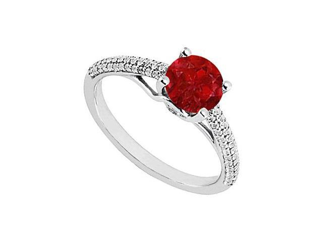 Ruby and Diamond Engagement Ring in 14K White Gold 1.00 ct.tgw