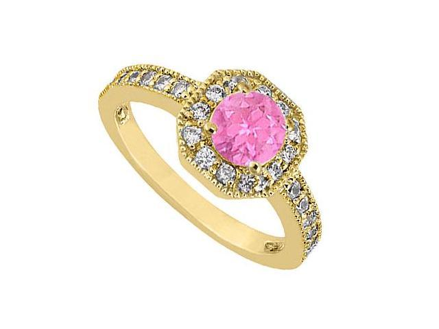 Pink Sapphire and Diamond Milgrain Engagement Ring in 14K Yellow Gold 0.85 Carat TGW