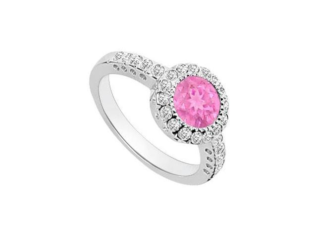 Created Pink Sapphire and Cubic Zirconia Halo Engagement Ring in 14K White Gold 1.25.ct.tgw