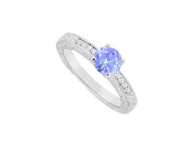 Tanzanite with Round Cubic Zirconia Engagement Ring in 14K White Gold 1.10 Carat TGW