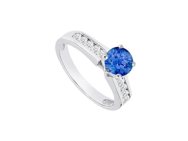 September Birthstone Created Sapphire and CZ Engagement Rings 14K White Gold 0.80.ct.tgw