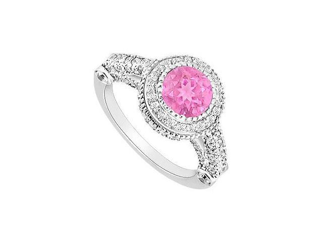 Created Pink Sapphire and CZ Halo Engagement Rings in 14K White Gold 2.00 ct.tgw
