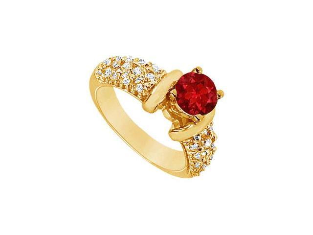 Ruby and Diamond Engagement Ring  14K Yellow Gold - 2.00 CT TGW