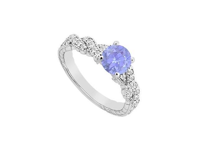Engagement Ring with Natural Tanzanite and Diamond Brilliant Cut in 14K White Gold 0.75 CT TGW