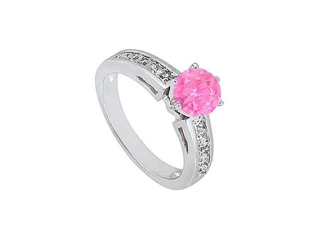 Engagement Ring in 14K White Gold Channel Set Diamond with Pink Sapphire 1.50 Carat Totaling
