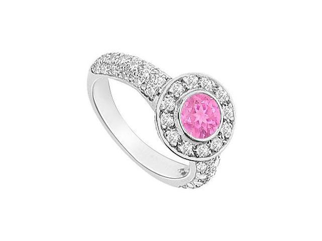 Created Pink Sapphire and Cubic Zirconia Halo Engagement Ring in 14K White Gold 2.25.ct.tgw