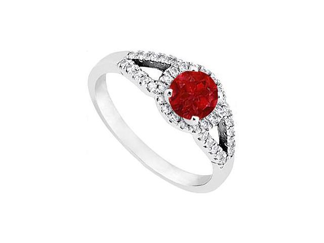 Ruby and Diamond Ring in 14K White Gold 1.00.ct.tgw