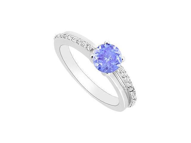 Created Tanzanite and Cubic Zirconia Engagement Rings 14kt White Gold 0.50.ct.tgw