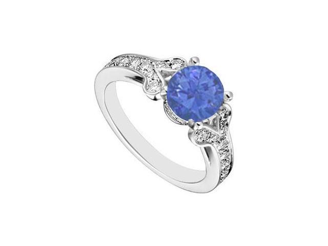 14K White Gold Created Blue Sapphire and  Cubic Zirconia Engagement Ring 4.00 CT TGW