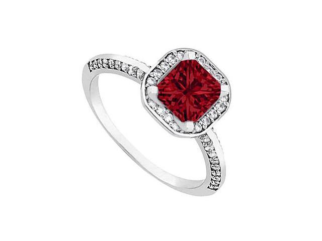 Halo Ruby and Diamond Engagement Ring in 14kt White Gold 1.00.ct.tgw