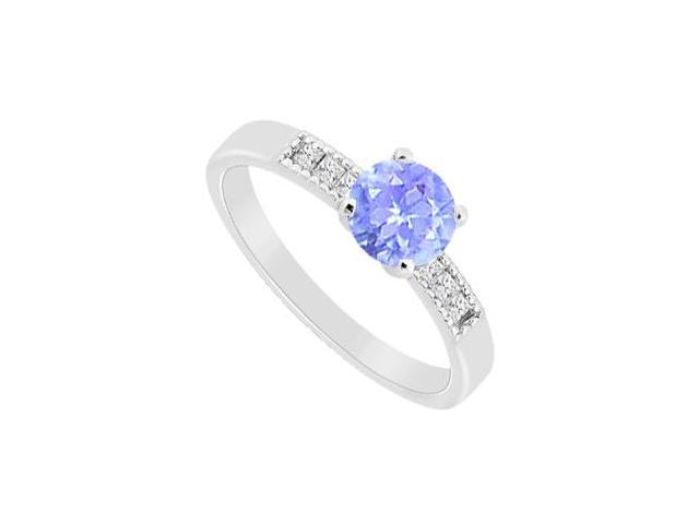 Round Tanzanite with and Princess Cut CZ Engagement Ring in 14K White Gold 1.10 CT TGW