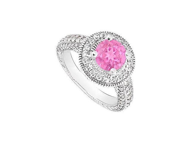 September Birthstone Created Pink Sapphire  CZ Halo Engagement Rings 14K White Gold 2.15.ct.tgw