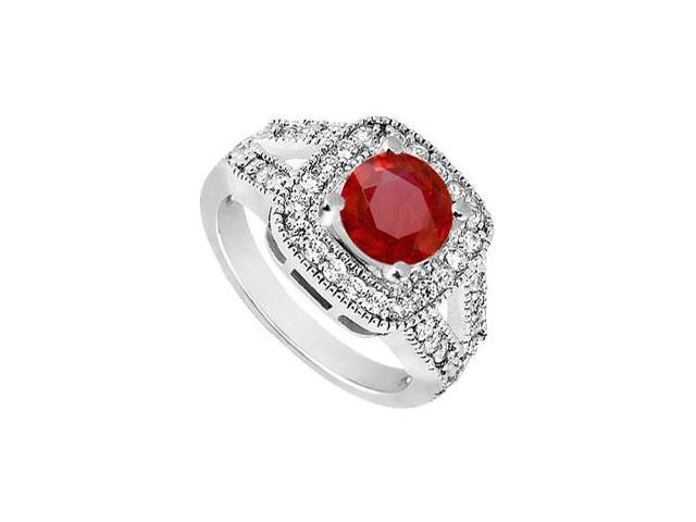 Split Shank Created Ruby and CZ Engagement Ring in 14K White Gold 1.50.ct.tw
